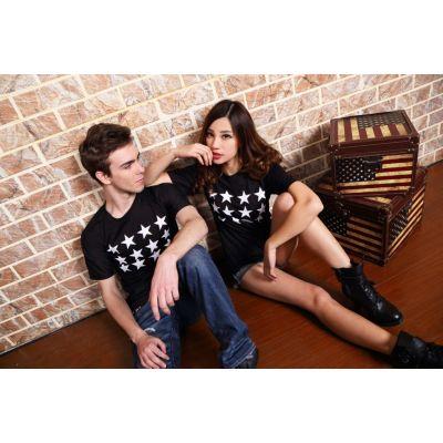 Black and White Stars Row T shirt for Men Women Streetwear