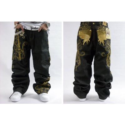 Hip Hop Baggy Jeans with Gold Embroidery on the back