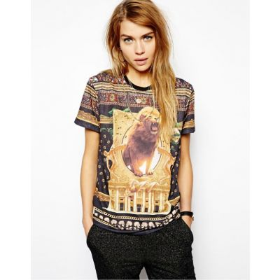 African Savana Print Lion T shirt for Women Summer Fashion