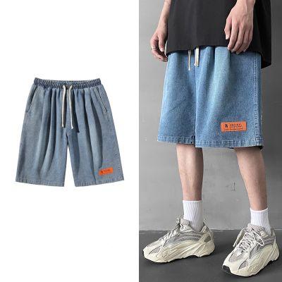 Baggy denim shorts for men with elastic waist