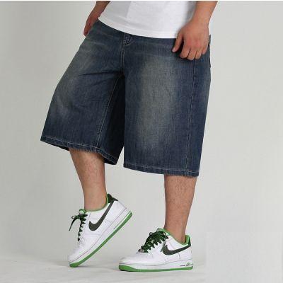 Baggy Jeans Shorts for Men - Dark Blue Denim Shorts