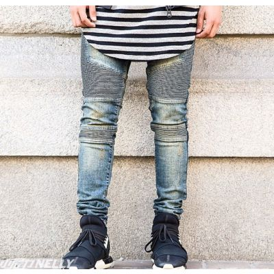 Slim fit Biker Jeans for Men with Ribbed Side Patches