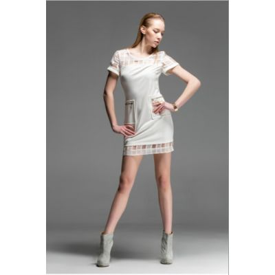 Bimaterial Fashion Dress for Women with Transparent Shoulders