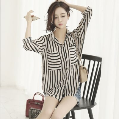Blouse for women with black and white stripes long sleeves
