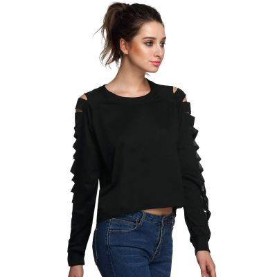 Long sleeve blouse for women with sleeve slits design