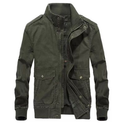 Standing collar army style jacket for men mid-season
