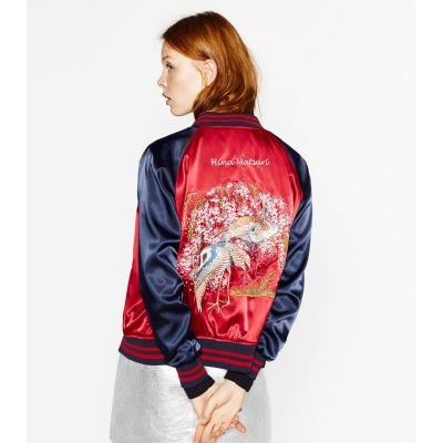 Women's satin reversible baseball jacket with embroidery on the back