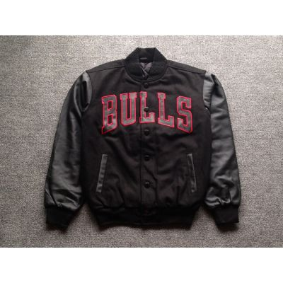 Chicago Bulls Bomber Jacket All Black Retro with Red Embroidery