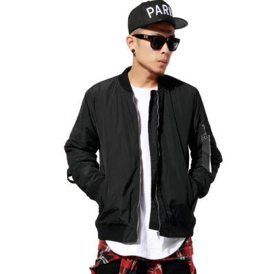 Bomber Jacket for Men with Back Straps - Black