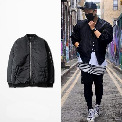 Black MA1 Bomber Jacket with Sleeve Zip for Men