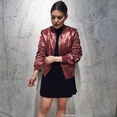 Bomber jacket MA-1 for women satin trend winter