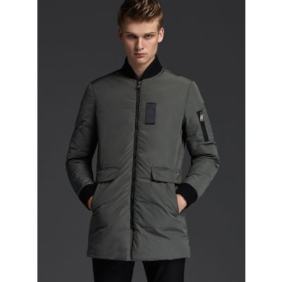 Mid-Long Bomber Jacket for men with black cotton lining