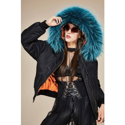 Nylon bomber jacket for women with thick fur hood