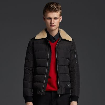 Men's Winter Jacket with Shearling imitation collar and sleeve zips