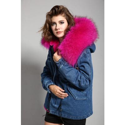 Women's Short Denim Jacket with Fur Hood