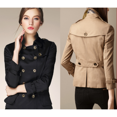 Short Trench Coat for Women with Double Breast Button Closure