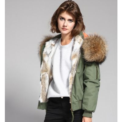 Women's short jacket with hood lined with thick fur