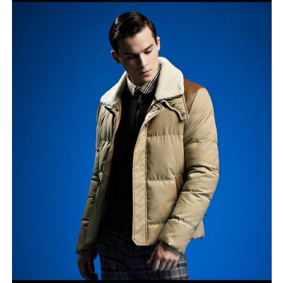 Short Padded Down Jacket for Men with Shearling and Leather Details