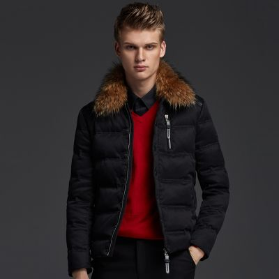 Short Winter Jacket for men with fur collar and leather patches