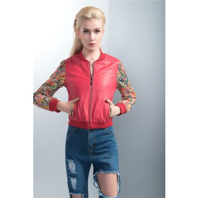 Red Leather Baseball Jacket for Women with Colored Embroidery Sleeves