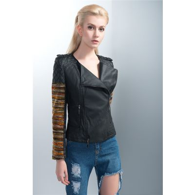 Black Leather Perfecto Jacket for Women Colored Fabric Sleeves