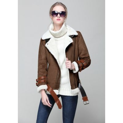 Women's suede imitation jacket with shearling collar