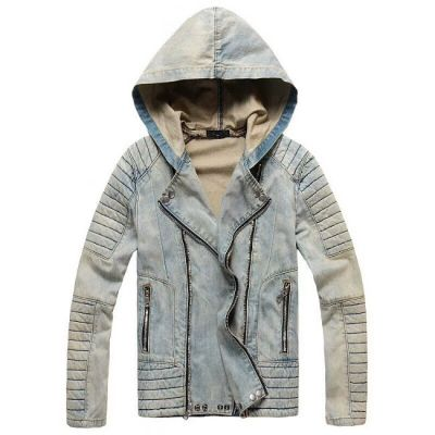 Jeans jacket with faded hood with padding shoulders