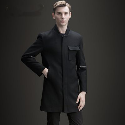 Long wool jacket for men with zipped sleeves and front pocket