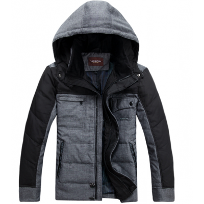 Two Tone Winter Jacket for Men with Chest Pockets and Hood