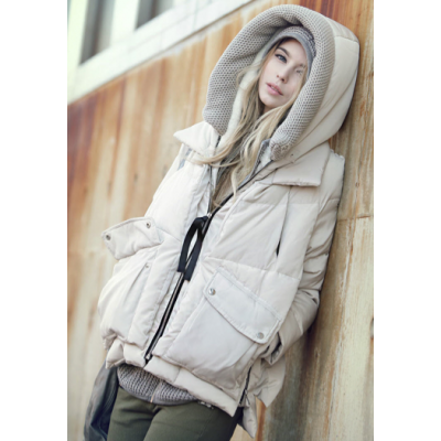 Oversize Women's Jacket with Wool Lined Hood and Inside Fur