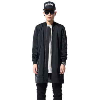 Men's Long Jacket Overcoat with Zip Sleeves