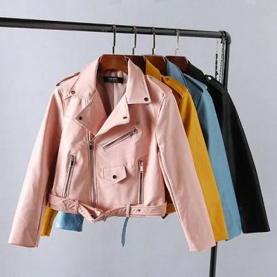 Faux leather perfecto biker jacket for women in yellow pink sky blue red