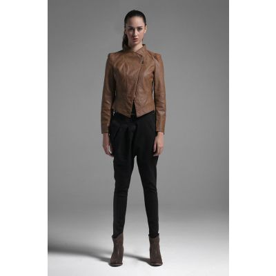 Brown Perfecto PU Leather Jacket for Women Classic