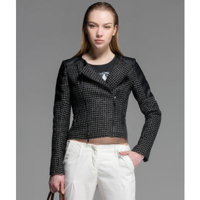 Perfecto PU Leather Jacket for Women with Woven Fabric Sleeves