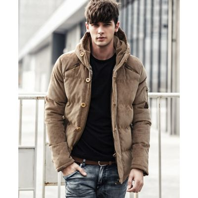 Men's winter hooded jacket in imitation suede
