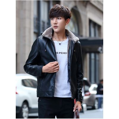 Faux leather hooded jacket for men with side pockets