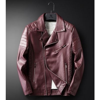 Leather biker perfecto jacket for men with textured shoulder padding