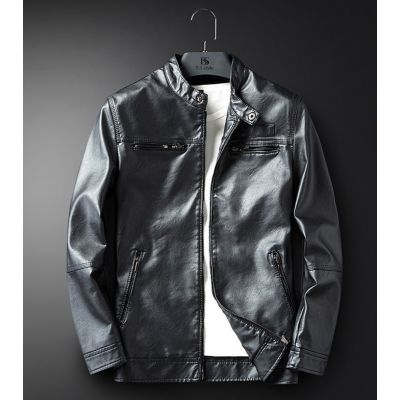 PU Leather jacket for men with collar strap and zipped front pockets