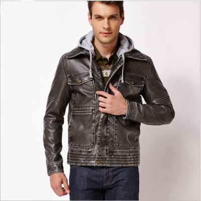 Vintage Style Faux Leather Jacket for Men with Cotton Hood