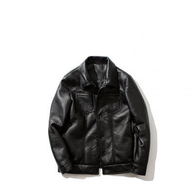 Leather trucker jacket for men