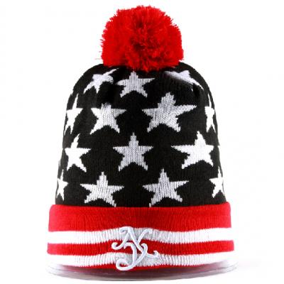 New York NY Stars Woven Winter Bobble Hat for Men or Women - Red