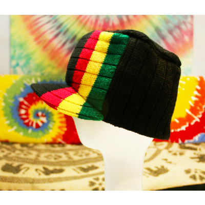Winter Tall Cap Hat with Woven Green Gold Red and Black Stripes