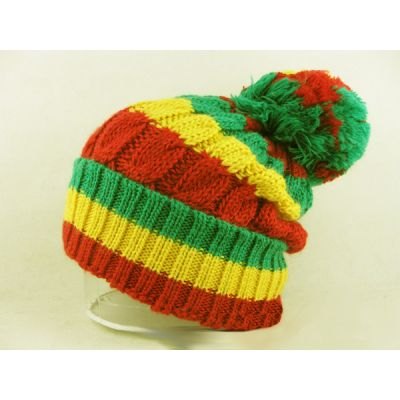 Rasta Bobble Beanie Winter Hat for Men or Women with Red Green Gold Stripes