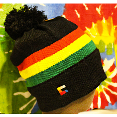 Red Gold and Green Winter Bobble Beanie Hat with Reggae Rasta Colors Woven