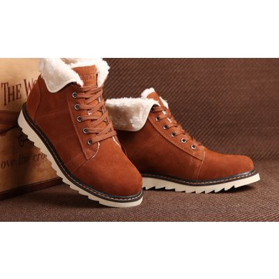 Fur lined Boots for Men Winter Workboots with Thick Sole