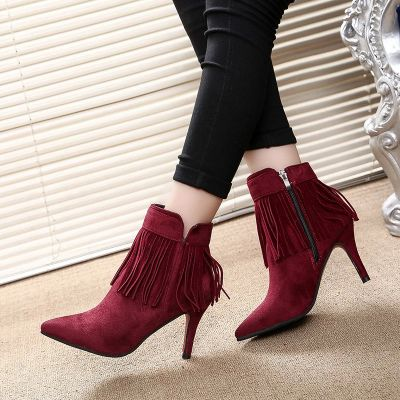 Women's ankle boots with trendy fringe ankle