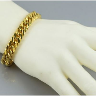Cuban Links Thick Chain Gold Plated Bracelet for Men Hip Hop Jewelry