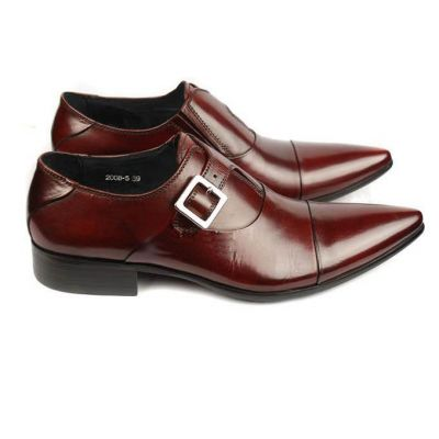 Monk Strap Leather Dress Shoes for Men - Brown
