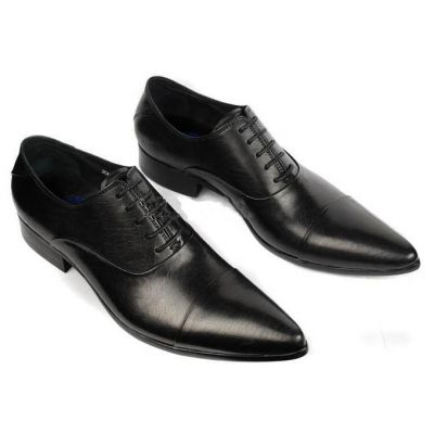 Slim Dress Business Shoes for Men with Laces - Black