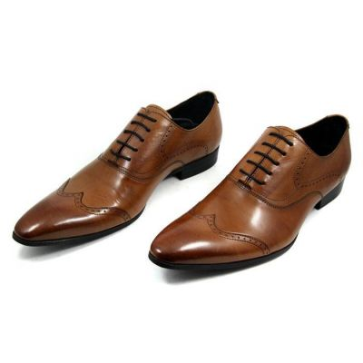 Oxford Shoes for Men with Bostonian Perforation Design - Brown